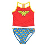 Warner Bros. Wonder Woman Superhero Girls Tankini Swimwear Swimsuit (5-6, Red/Blue)