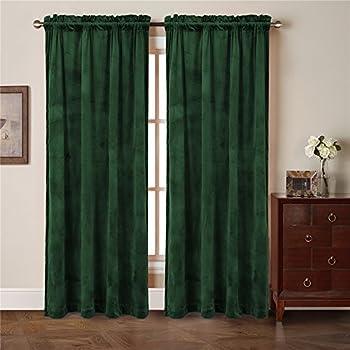Amazon Com Awad Home Fashion 2 Panels Solid Hunter Green