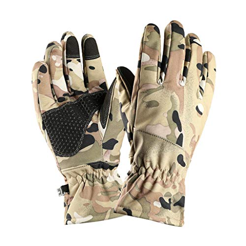 Clearance Winter Waterproof Anti-Slip Outdoor Sports Thicken Riding Warm Thermal Velvet Ski Snow Leather Gloves for Men and Women (Camouflage m)