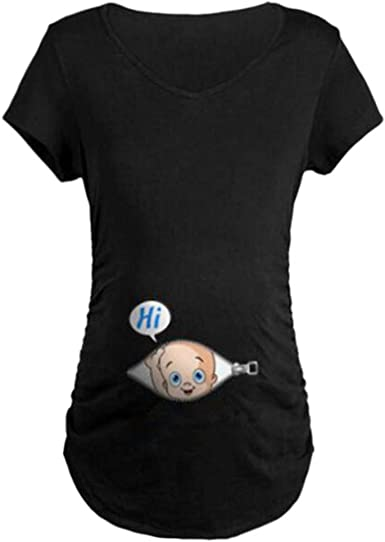 UK Maternity Cute Funny Baby Striped Short T-shirt Pregnant Tops UK Size 10-20