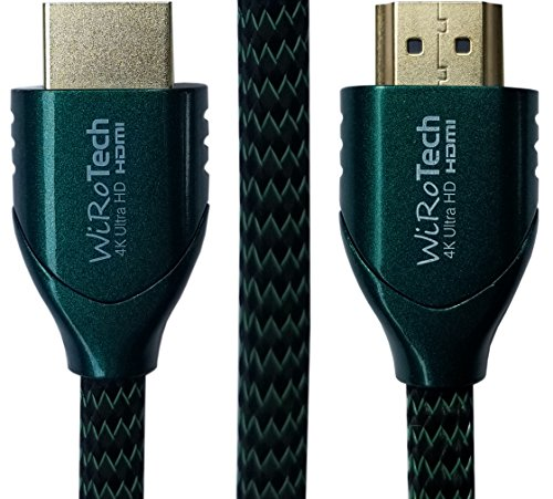 Low Profile HDMI Cable 10ft Green - HDMI 2.0 (4K, HDR) Ready - Braided Cable - High Speed 18Gbps - Gold Plated Connectors - Ethernet, Audio Return - Video 2160p
