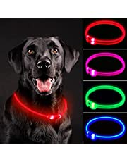 NOVKIN LED Dog Collar , Rechargeable Light Up Dog Collars,IP67 Waterproof Dog Lights for Night Walking,Adjustable, Reusable Safety Necklacefor Small Medium Large Dogs