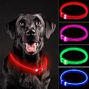 NOVKIN LED Dog Collar , Rechargeable Light Up Dog Collars,IP67 Waterproof Dog Lights for Night Walking,Adjusta