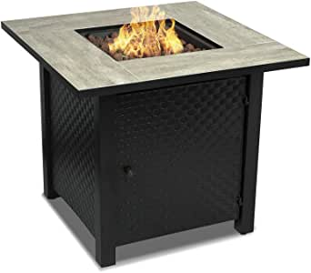 CAMPLUX Propane Fire Pit Table, 30 Inch 50,000 BTU Outdoor Square Gas Fire Pit with Cover & Lava Rock,Ceramic Table top,ETL Certification, Automatic Ignition, Fire Table for Courtyard/Balcony/Garden