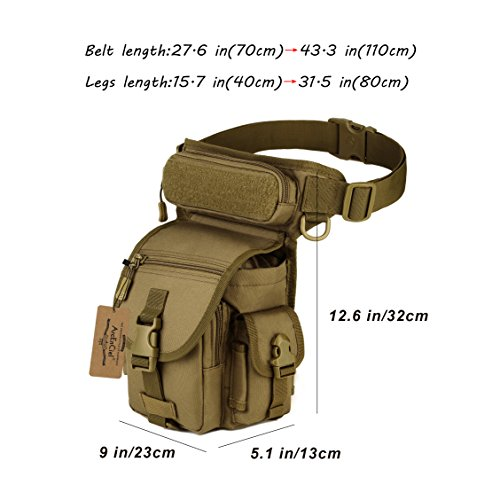ArcEnCiel Military Tactical Drop Leg Bag Tool Fanny Thigh Pack Leg Rig Utility Pouch Paintball Airsoft Motorcycle Riding Thermite Versipack (Coyote Brown)