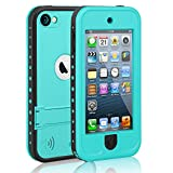 Waterproof Case for iPod 5 iPod 6, Meritcase Waterproof Shockproof Dirtproof Snowproof Case Cover with Kickstand for Apple iPod Touch 5th/6th Generation for Swimming Diving Surfing Snorkeling (Blue)