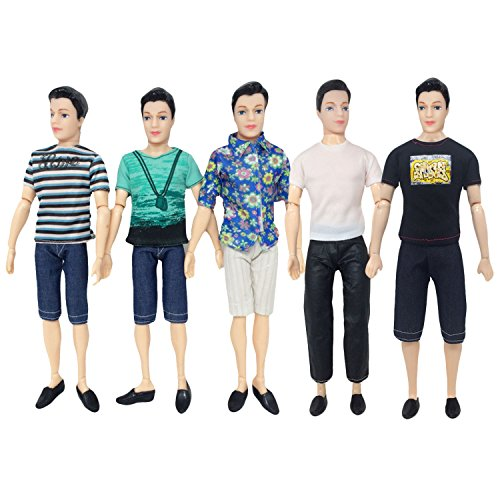 5 Sets Fashion Casual Wear Doll Clothes Jacket Pants Outfits Accessories for Men Boy Ken Barbie Dolls Kids Birthday Xmas Gift