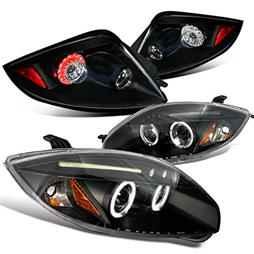 Spec-D Tuning LT2LHP-ELP06JL-TM Headlight Tail Light (Eclipse Black Dual Halo Projector Red LED Brake Lamp) ()
