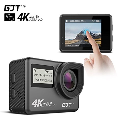 GJT GC1 4K Touch Screen Sports Action Camera Portable Package, Dual Screen WiFi 12MP Ultra HD 30M Waterproof DV Camcorder, 170 Degree Wide Angle Lens, 2.4Ghz Remote Control, with 2x1350mAh Batteries GJT