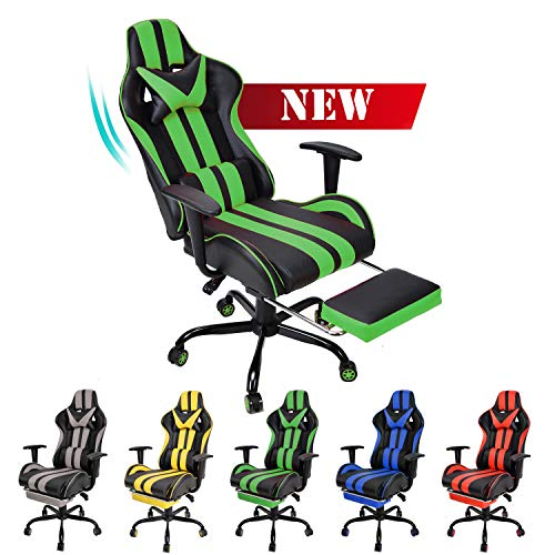 E-Sports Chair,Gaming Chair,Racing Office Computer Game Chair,Ergonomic Gaming Chair,Racing Style with Adjustable Recliner and Retractable Footrest and Headrest/Lumbar Pillow(Gaming Green)