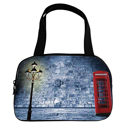 Polychromatic Optional Small Handbag Pink,Lantern,Vintage Scene with Brick Wall and British Phone Box in Dark Scary Night Twilight Painting Decorative,Gey Red,for Girls,Print Design.6.3