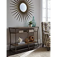 Nartina Light Brown Wood and Metal Sofa Table