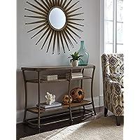 Nartina Light Brown Wood and Metal Sofa Table