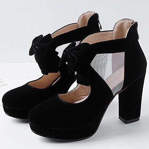konts Sweet Women's High Evening Jane Chunky Wedding Fahion DoraTasia Black Heels Shoes Mesh Heel Bowtie Mary Pumps qB0pCwx