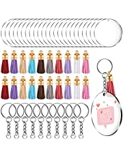 TUPARKA 90 Pieces Acrylic Keychain Making Kit,Acrylic Transparent Discs and Keychain Rings for Craft,Clear Acrylic Keychain Blanks and Colorful Tassel Pendants for DIY Projects(30 Set)