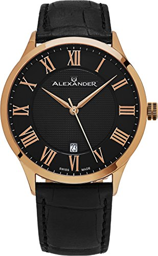 Alexander-Statesman-Triumph-Wrist-Watch-For-Men-Stainless-Steel-Plated-Rose-Gold-Watch-Black-Leather-Analog-Swiss-Watch-Black-Dial-Date-Mens-Designer-Watch-A103-05