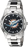 Game Time Men's 'Heavy Hitter'  Metal and Alloy Quartz Analog  Watch, Color:Silver-Toned (Model: NFL-HH-MIA)