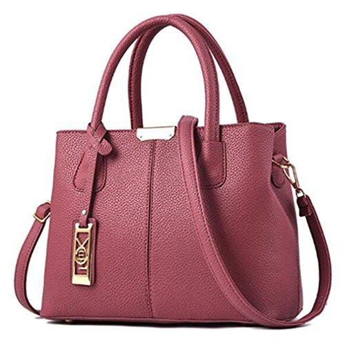 Pink la Mujeres Bolso de Hombro de Cuero de Casual Dark Pink 30x14x22cm de PU Dark Bolsos SXnt7zwB