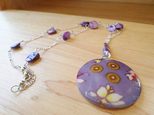 50mm Purple Painted Mother of Pearl or Nacre with Purple Nacre Nuggets on 23 inch long Chain (50 Dress Up Ideas)