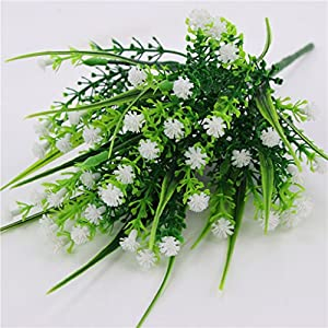 Fityle 4pcs Plastic Artificial Baby'S Breath Flower Arrangement Grass Gypsophila Flower Wedding Floral Decor 4