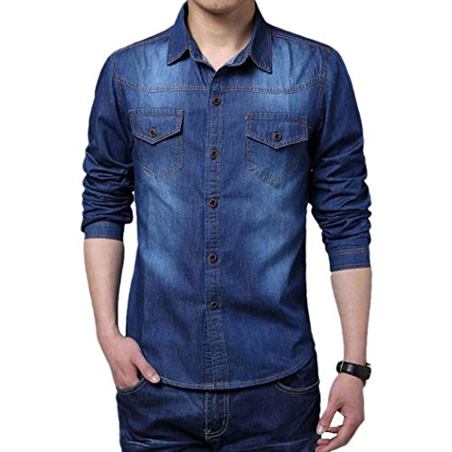 Eshion Men Cool Casual Long Sleeve Turn-down Collar Jean Shirt Thin Coat