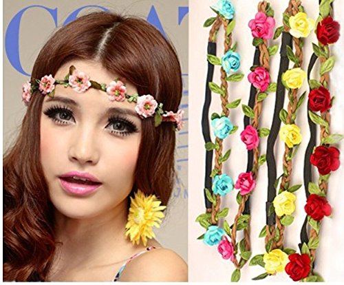 Accessories Pda - 3pcs Lot Fashion Women Bride Flower Headband Bohemian Style Rose Crown Hairband Ladies Elastic Beach - Accessories Headband Artificial Dried Flowers Crown Hawaiia