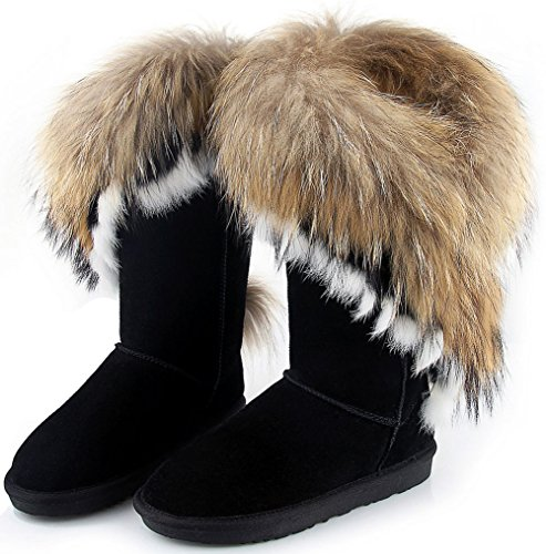 Womens Boots Cow Leather Fur Winter Snow Boots