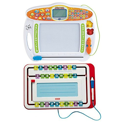 Fisher-Price Slide & Movable Writer and VTech Step-by-Step Guide To Writing, Kids Learning Toys & Playsets, Writing, Creativity, Fine Motor Skills, Educational Tools, Fun Activity For Preschoolers
