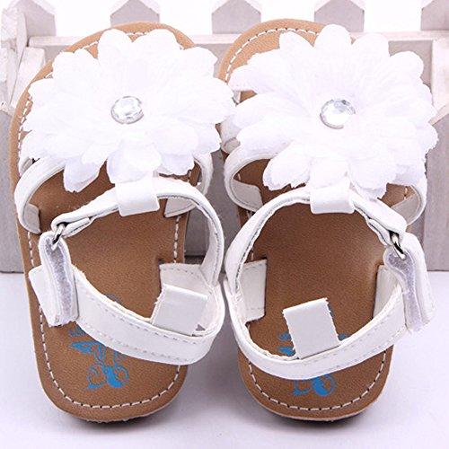 Gosear Zapatos de Bebé y Bebé Sandalias de Flor Blanco para 12-18 Meses Blanco