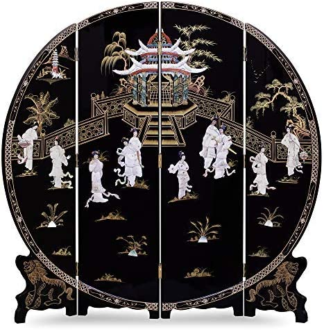 ChinaFurnitureOnline Black Lacquer Round Floor Screen, 72 Inches Hand Painted Scenery with Dancing Courtly Maiden Mother of Pearl Figures