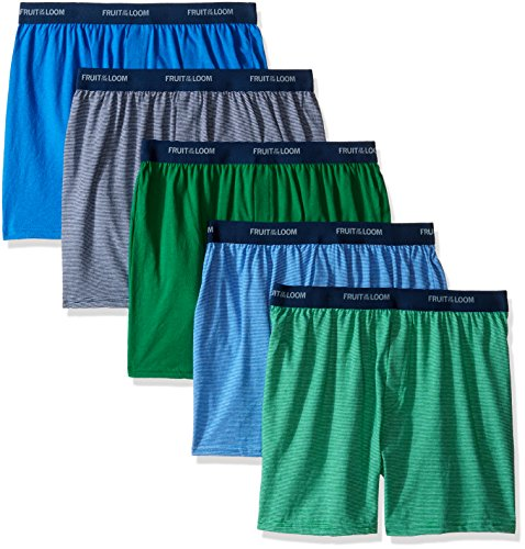 Fruit of the Loom Big Boys' 5 Pack Knit Boxer, Assorted, M