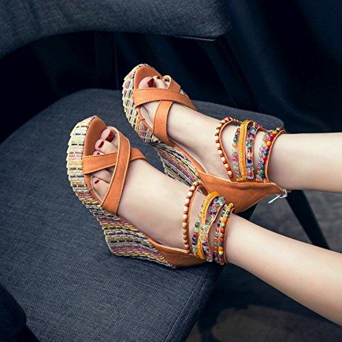 3 a Shymamamiya Hechos Mano Tacón Playa Beige Color Zapatos Naranja Sandalias Alto 39 1 EU de Tamaño de Bohemia de rwqIgxTrcp