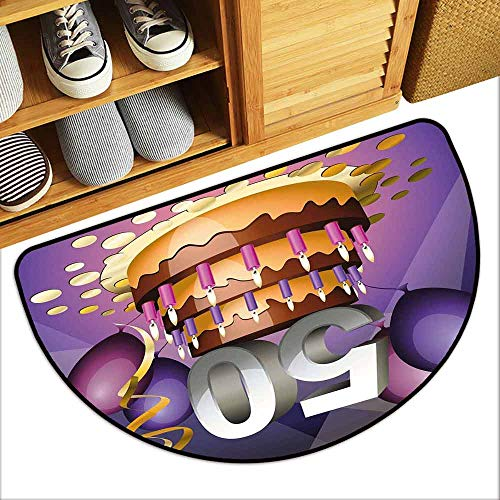 YOFUHOME 50th Birthday Antibacterial Doormat Creamy Cake with Many Candles and Numbers Balloons Ribbons Art Print Anti-Fading W29 x L17 Purple Gold Grey