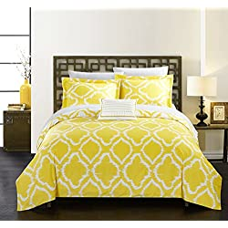 Chic Home 3 Piece Juniper Reversible Two-Tone Ikat Diamond Geometric Pattern Print Technique Twin Duvet Cover Set Yellow