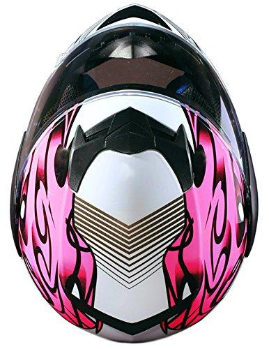Youth Kids Full Face Helmet with Shield Motorcycle Street MX Dirtbike ATV - Pink (XL) by Typhoon Helmets (Image #5)