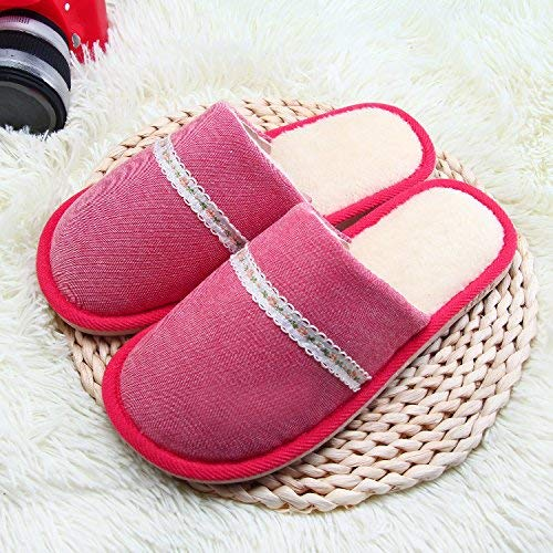 Red JaHGDU Ladies Casual Fall and Winter Keep Warm Slipper Indoor Home Villus Cotton Slippers for Women Pink Green Red