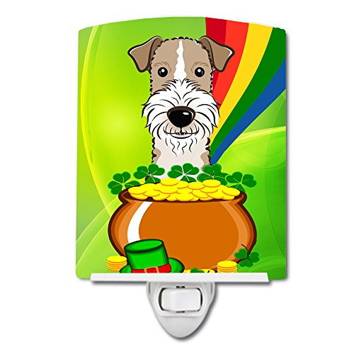 Caroline's Treasures Wire Haired Fox Terrier St. Patrick's Day Ceramic Night Light, 6 x 4