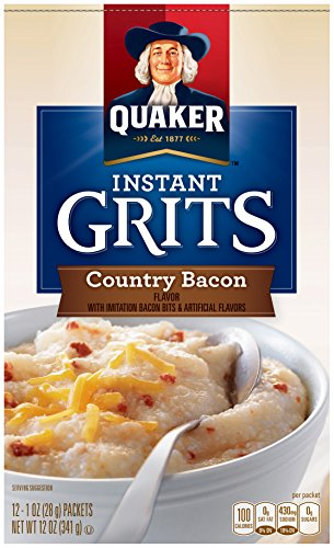 Quaker Instant Grits, Country Bacon Flavor, 12 Packets Per Box (Pack of 12 ()