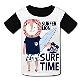 riverccc6.1500 Surfer Lion Surf Time Youth T-Shirt Boys Girls Tee