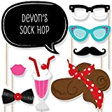 Custom 50's Sock Hop Photo Booth Props Kit - Personalized 1950's Rock N Roll Party Supplies - Fifties Party Accessories - 20 Selfie Props