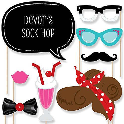 Custom 50's Sock Hop Photo Booth Props Kit - Personalized 1950's Rock N Roll Party Supplies - Fifties Party Accessories - 20 Selfie Props (Sock Hop Games)