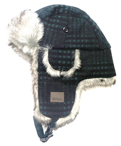 Chaos Men's Muscle Wool Blend Trapper Hat, Green Plaid, One Size