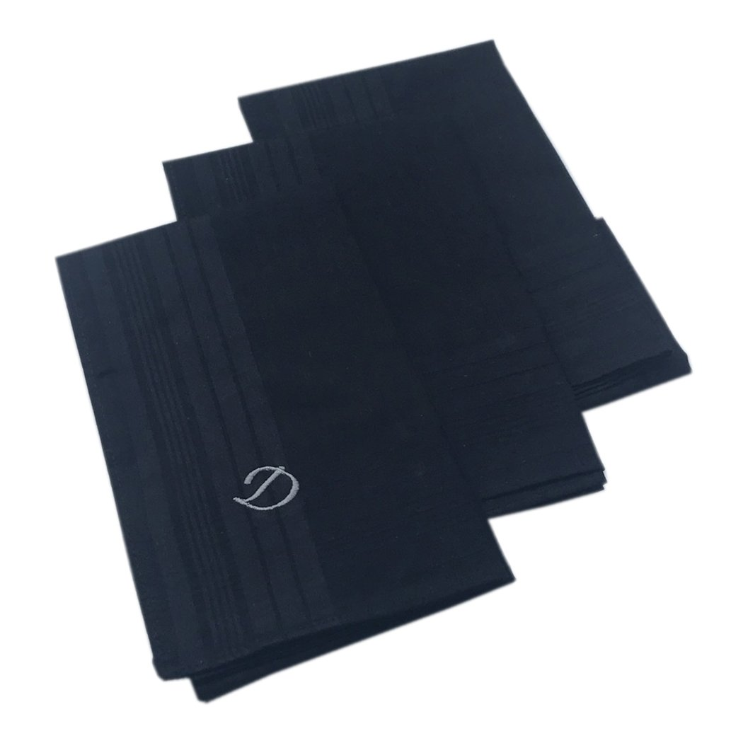 OWM Handkerchief Pack of 3 Cotton Embroidered Initial Monogram Handkerchief Men (D, Black)