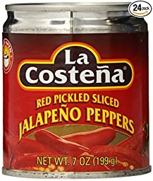 La Costena Red Pickled Sliced Jalapeno Peppers 7 Oz (Pack of 6)