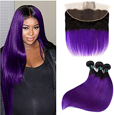 Human Hair Weaves Riay Hair 1b Ocean Blue Ombre Brazilian Body Wave Hair 13x4 Lace Frontal Ombre Closure Black Root Remy Hair Closures