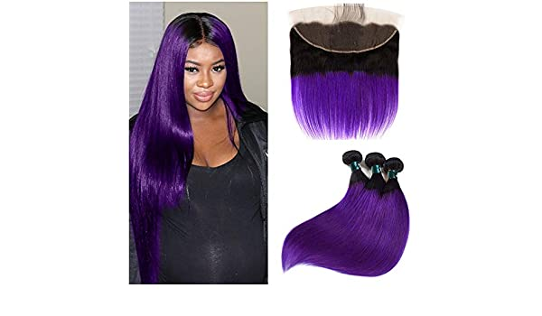 Human Hair Weaves Riay Hair 1b Ocean Blue Ombre Brazilian Body Wave Hair 13x4 Lace Frontal Ombre Closure Black Root Remy Hair