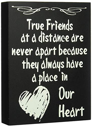 (JennyGems Wooden Stand Up Box Sign True Friends at a Distance Are Never Apart Because They Always Have a Place in Our Heart - Home and Wall Decor Accents - Friendship Sign - Bestie)