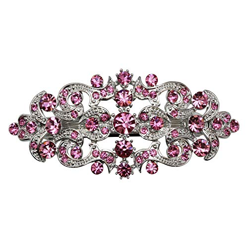 Faship Gorgeous Pink Crystal Floral Hair Barrette Clip - Pink