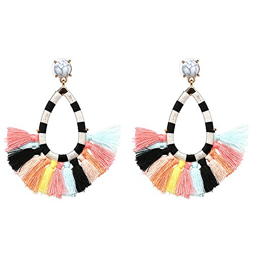 (Women's Beaded Tassel Earrings Long Fringe Drop Bohemian Earings Dangle 7 Colors (colours))