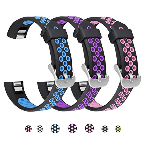 SKYLET Compatible with Fitbit Ace/Fitbit Alta Hr Bands, 3 Pack Soft Breathable Sport Wristbands Compatible with Fitbit Alta Kids Band Men Women(Black-Blue, Black-Purple, Black-Pink Small)
